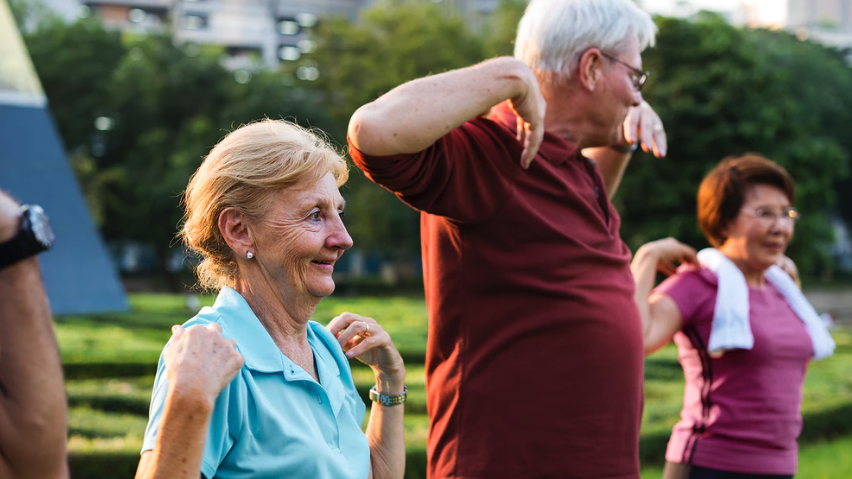 seniors exercising - health and safety for aging